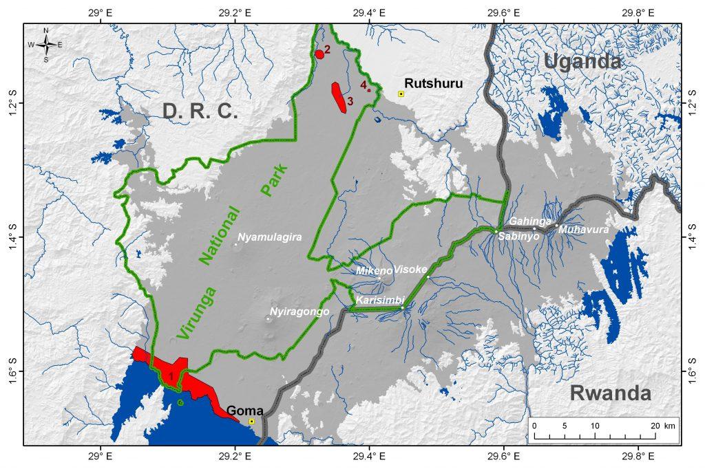 Location of main mazuku zones in the VVP. 1 = northern shoreline of Lake Kivu; 2 = Lake Ondo area; 3 = Kamikoni area; 4 = Mbilibaliba area. (Location after Verschuren, 1965, and Smets et al., 2010)
