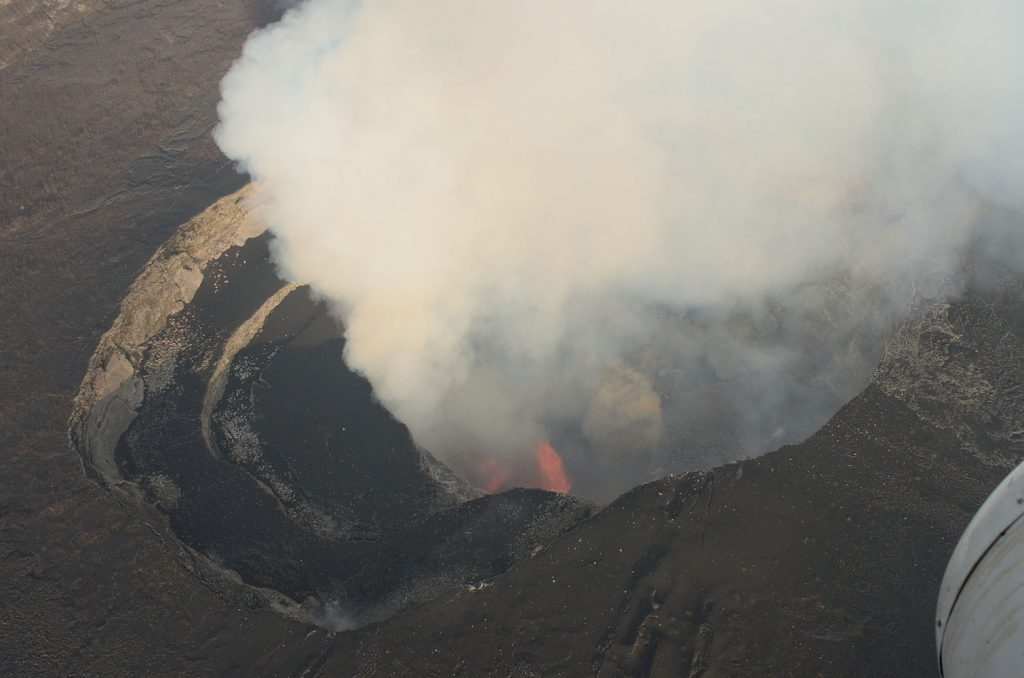 Lava fountains in the pit cratrer of the Nyamulagira caldera, on July 1, 2014. Photo (c) B. Smets, 2014.