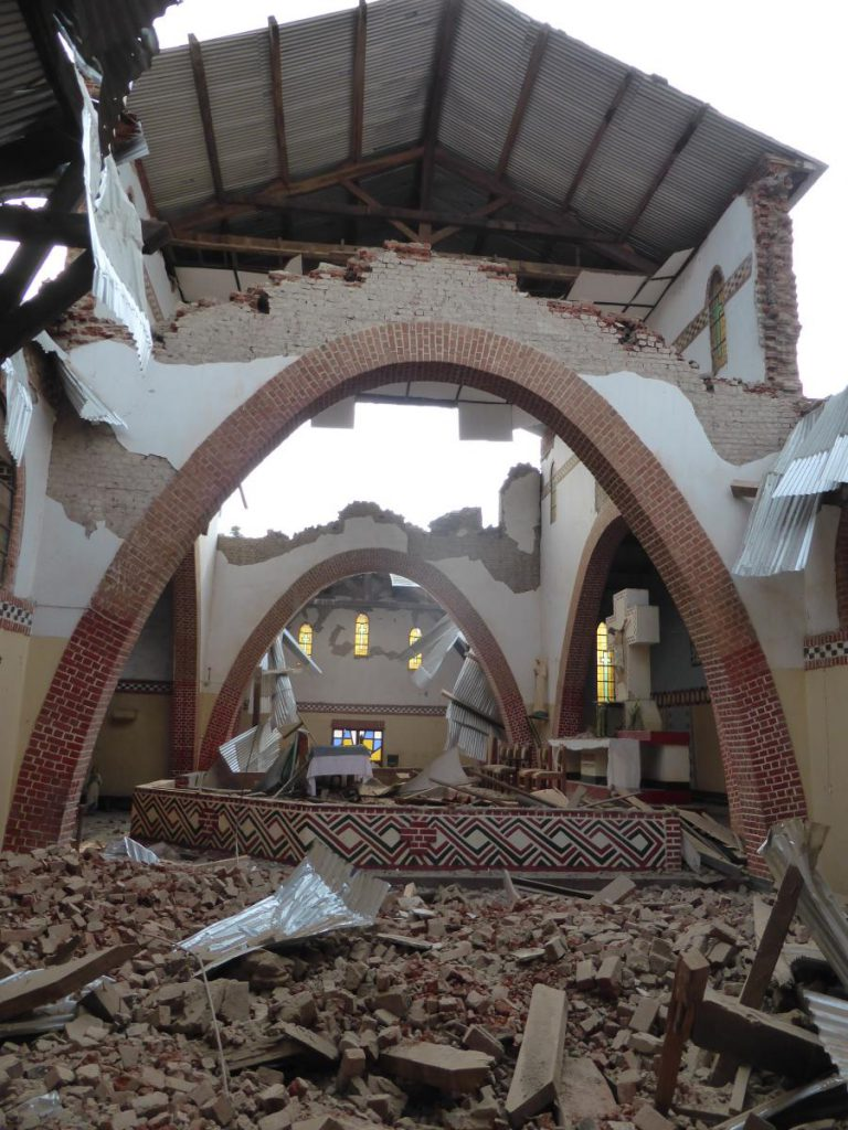 Paroisse Mwanda (Katana), after earthquake August 7, 2015. (c) RESIST, 2015