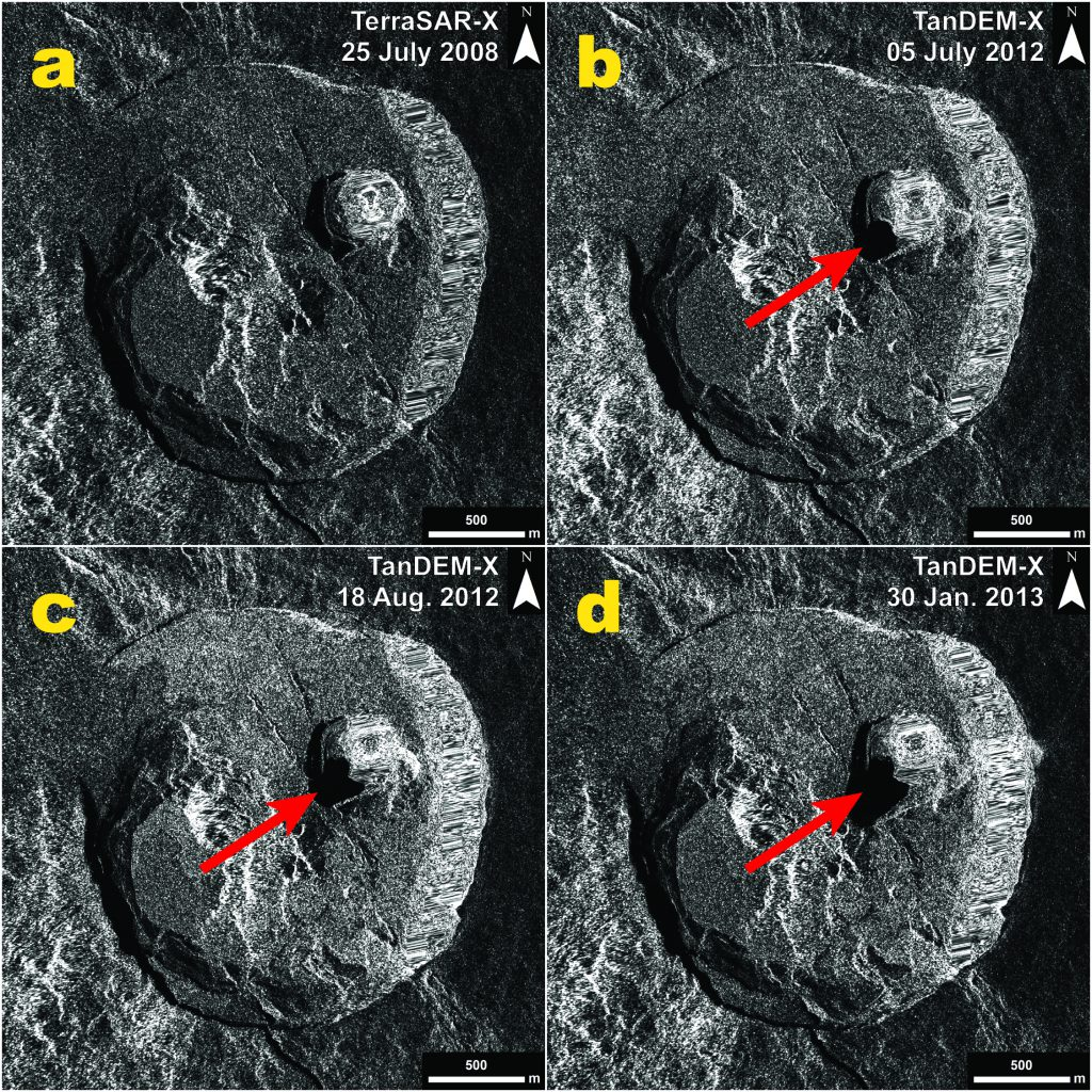 Figure 2: Series of four TerraSAR-X / TanDEM-X (© DLR, 2008-2013) radar amplitude images illustrating the progressive collapse and southward extension of the Nyamulagira's pit crater. Figure (c) B. Smets, RMCA, and N. d'Oreye, ECGS/MNHN.
