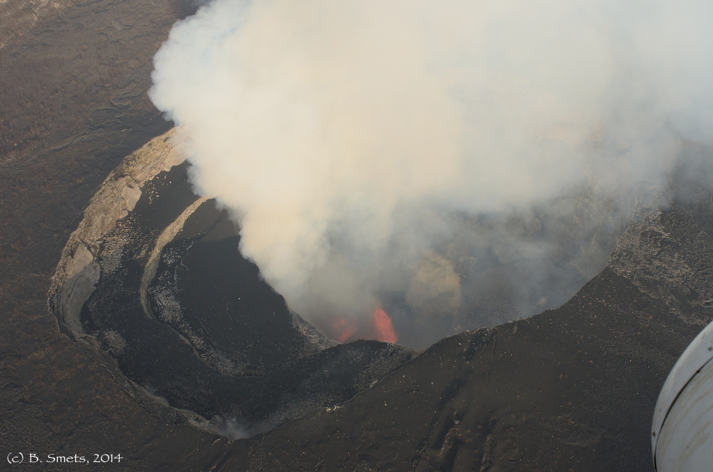 Figure 4: Photo of lava fountaining activity taken from helicopter on 1st July 2014. Photo (c) B. Smets, RMCA.