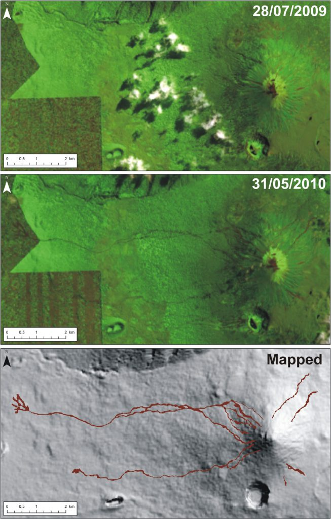 Mapping of the mud flows using EO-1 ALI images. (c) B. Smets, RMCA, 2010